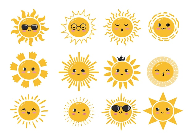 かわいい太陽のキャラクターコレクション