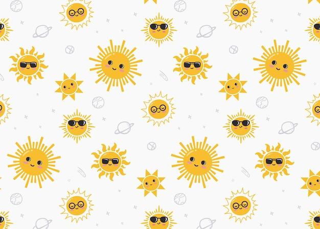 かわいい太陽のキャラクターパターン
