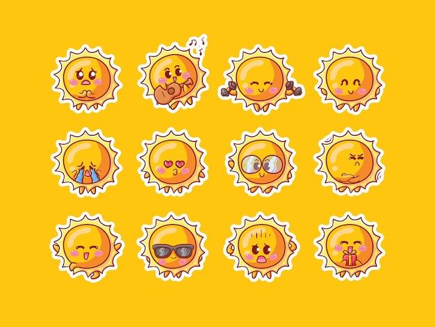 マスコットのための様々な活動と幸せな表現で設定されたかわいい太陽のキャラクターステッカーイラスト