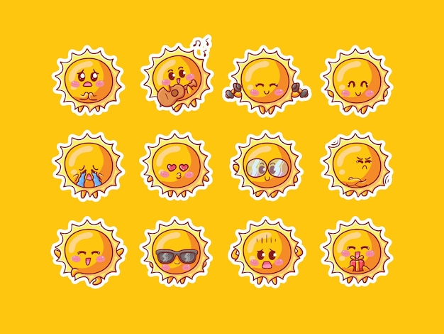 Cute sun character sticker illustration set with various activity and happy expression for mascot