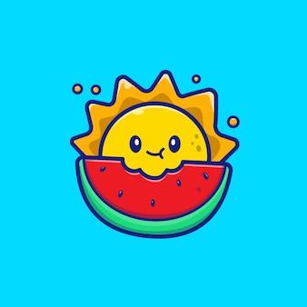 Симпатичное солнце ест арбуз значок иллюстрации. концепция значок летние фрукты.