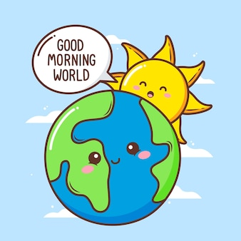 Cute sun say good morning to cute earth