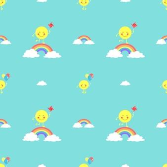 Cute sun seamless pattern vector.