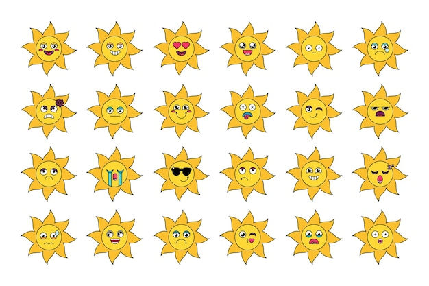 Cute sun stickers outline illustrations set. various cartoon emoticons. social media emoji pack