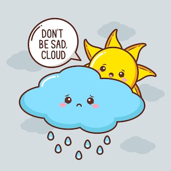 悲しい雲のキャラクターがかわいい太陽