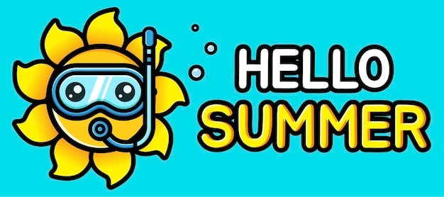 여름 인사말 배너와 함께 귀여운 태양