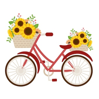 The cute sunflower in the basket on the red bicycle