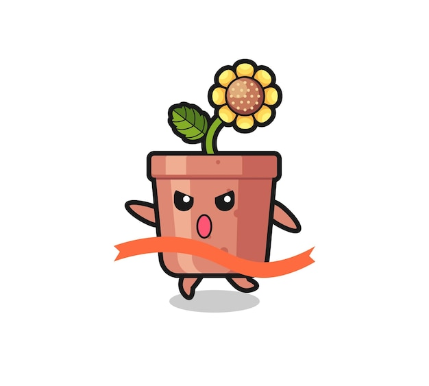 Cute sunflower pot illustration is reaching the finish , cute style design for t shirt, sticker, logo element