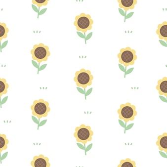 Cute sunflowers seamless pattern background