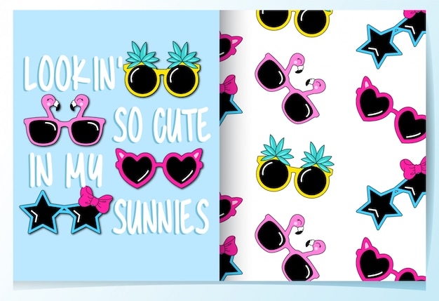 Cute sunglasses seamless pattern