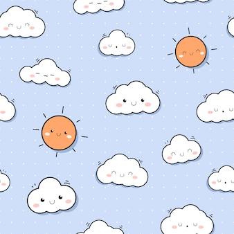 Cute sunshine sky cartoon doodle seamless pattern