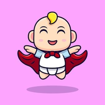 핑크에 고립 된 망토와 비행을 입고 귀여운 슈퍼 베이비