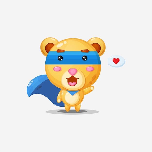 거품 연설에 마음을 가진 귀여운 슈퍼 곰