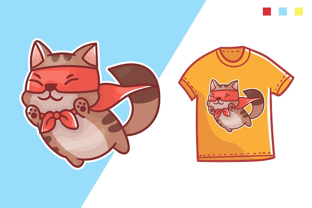 Милый супер кот футболка дизайн шаблона