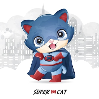 Cute super cat with watercolor illustration