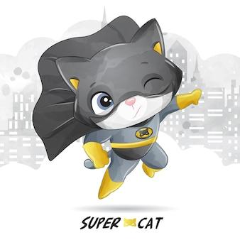Милый супер кот с акварельной иллюстрацией