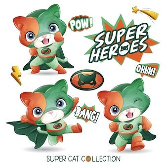 水彩イラストがかわいいスーパー猫