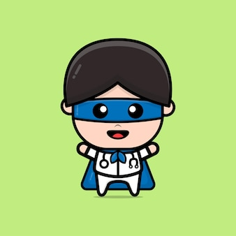Cute super doctor character illustration