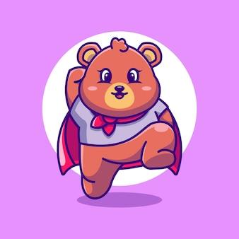 귀여운 슈퍼 영웅 곰 점프 만화