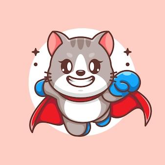 かわいいスーパーヒーロー猫の飛行漫画