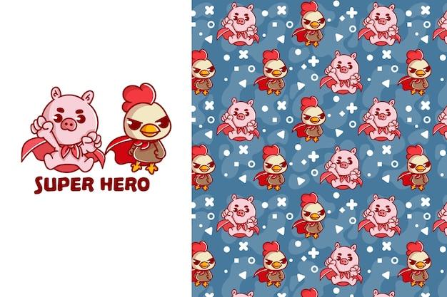 귀여운 슈퍼 영웅 돼지와 닭 원활한 패턴