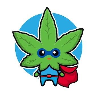 Cute super marijuana cartoon character