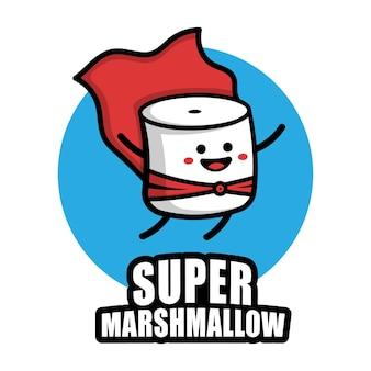 Cute super marshmallow cartoon vector icon illustration