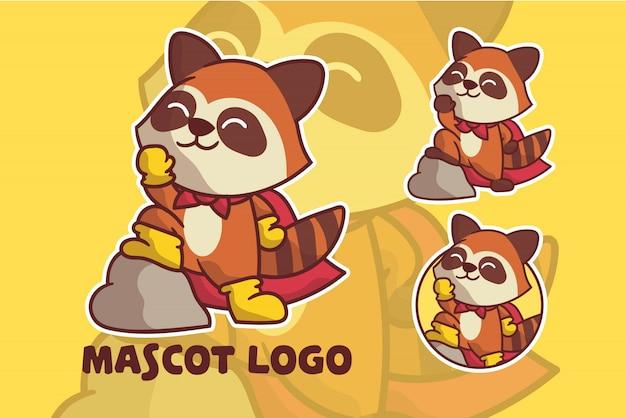 Cute super racoon mascot logo set