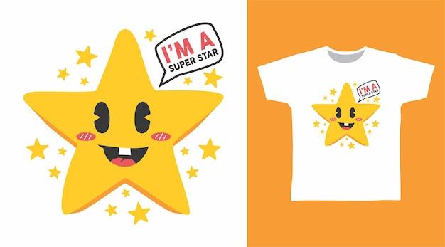 티셔츠 디자인을 위한 귀여운 슈퍼스타