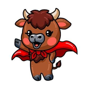 かわいいスーパーヒーローの赤ちゃんの水牛の漫画