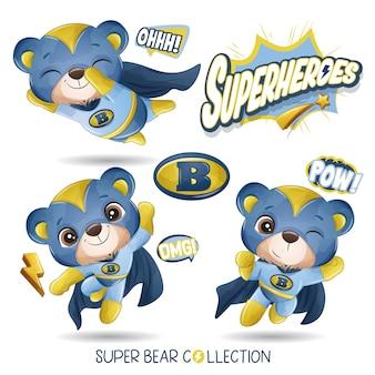 Милый медведь супергероя с акварельной коллекцией