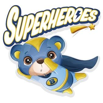 Милый медведь супергероя с акварельной иллюстрацией