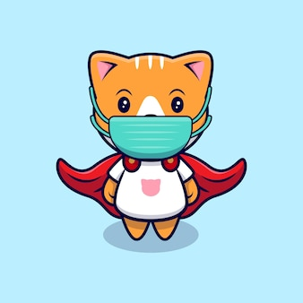 医療マスク漫画アイコンイラストを身に着けているかわいいスーパーヒーロー猫。フラット漫画スタイル