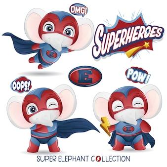 Симпатичный супергерой-слон с акварельной коллекцией