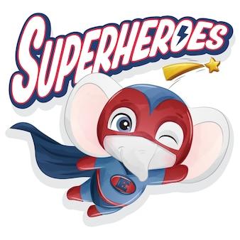 Симпатичный супергерой-слон с акварельной иллюстрацией