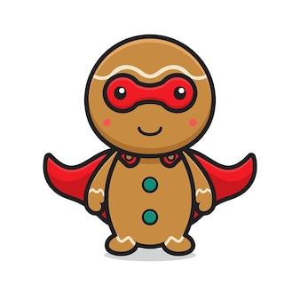 Cute superhero gingerbread cartoon character wearing mask