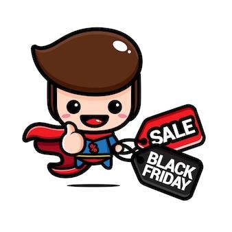 Милый супергерой держит купон на скидку в черную пятницу