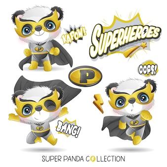 Милая панда супергероя с акварельной коллекцией