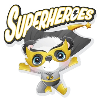 Милая панда супергероя с акварельной иллюстрацией
