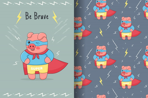 Cute superhero piggy seamless pattern and card