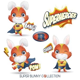Милый кролик супергероя с акварельной коллекцией