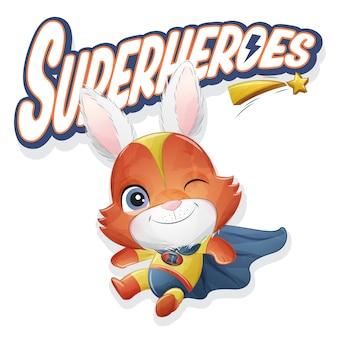 Милый кролик супергероя с акварельной иллюстрацией