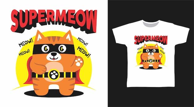 Cute supermeow cat for tshirt design