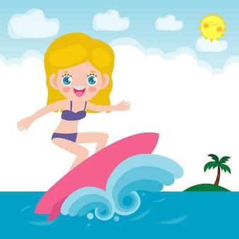 Милый персонаж серфингистов с доской для серфинга и верхом на океанской волне