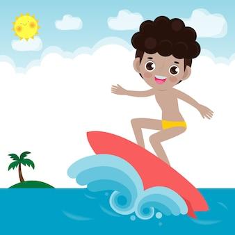 サーフボードと海の波に乗ってかわいいサーファーの人々のキャラクター
