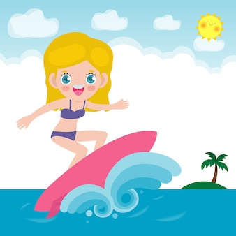 Cute surfer people character with surfboard and riding on ocean wave