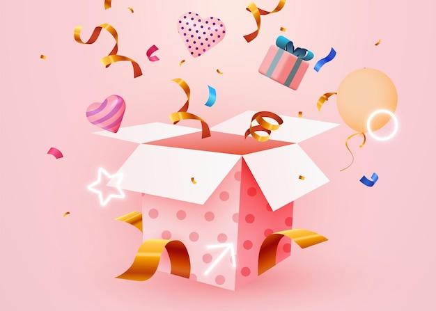 Cute surprise gift box with falling confetti