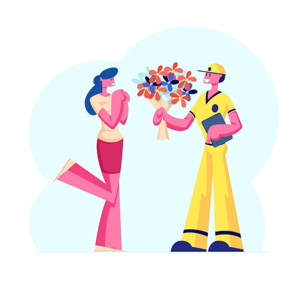 Cute surprised girl happy to get bouquet of beautiful flowers from deliveryman. cartoon flat illustration