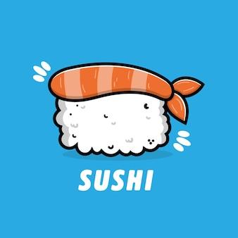 Cute sushi cartoon icon illustration japanese food concept
