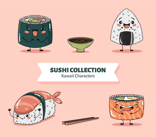 Cute sushi characters collection vector